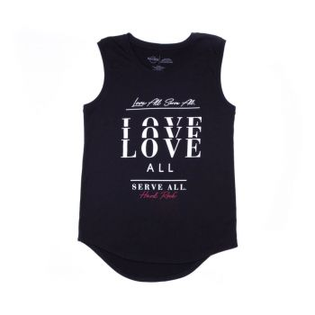 Women's Motto Love All Serve All Sleeveless Tee