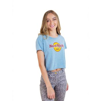 Women's Ice Blue Logo Crop Tee
