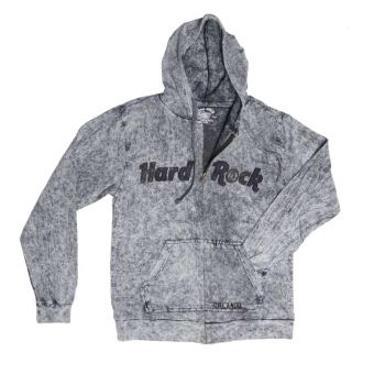 Acid Wash Full Zip Hoodie