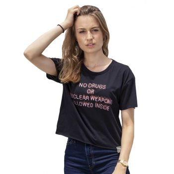 Women's No Drugs or Nukes Crop Tee