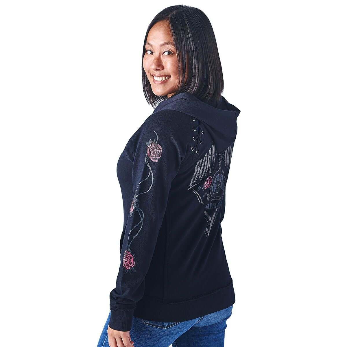 Women's Rose Sleeve Full Zip Hoodie