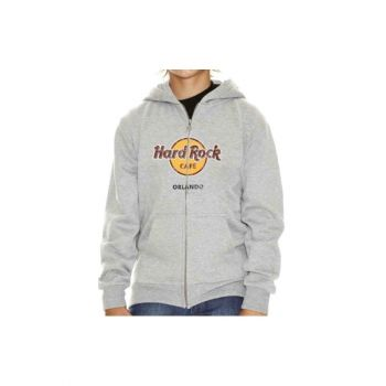Kids Zip-up Distressed Logo Hood Sweatshirt