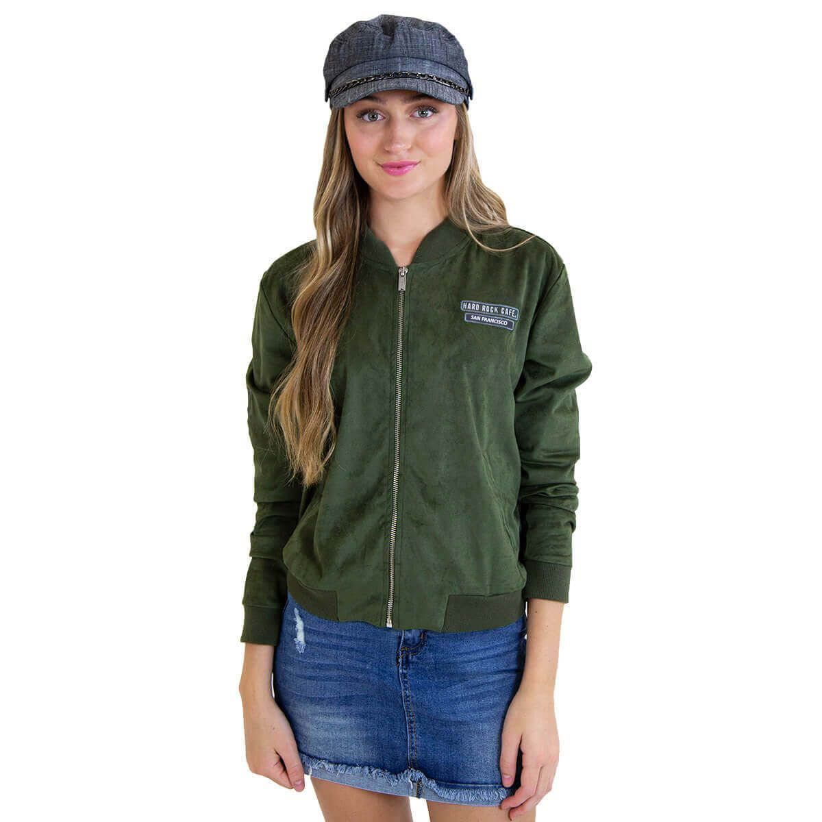 Women's Suede Bomber Jacket