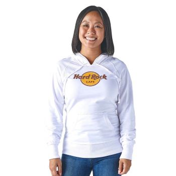 Women's White French Terry Logo Hoodie