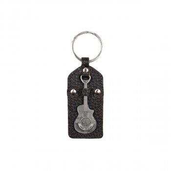 City Metal Guitar Leather Keychain