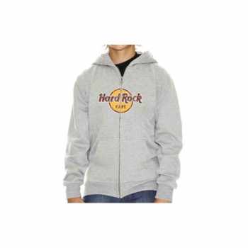 Kid's Zip-up Distressed Logo Hoodie No City Name