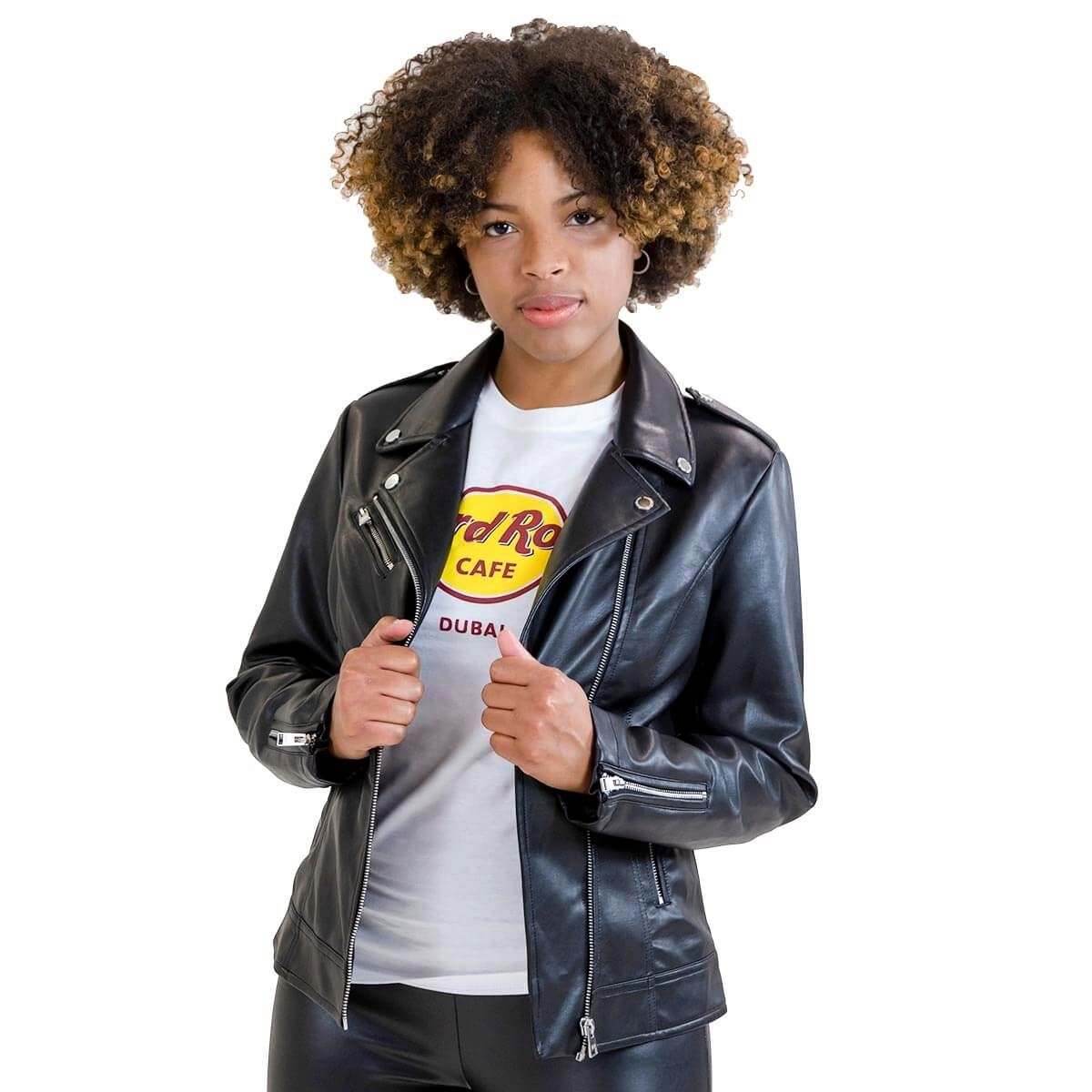 Women's Classic Faux Leather Moto Jacket