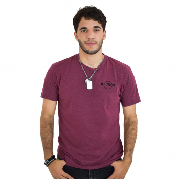 Men's Burgundy Raised Logo Tee