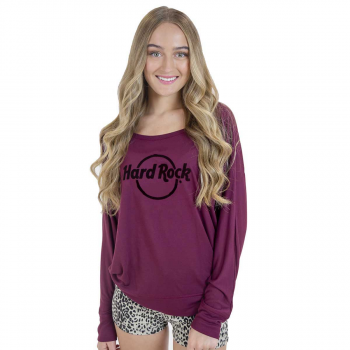 Women's Burgundy Logo Long Sleeve Tee