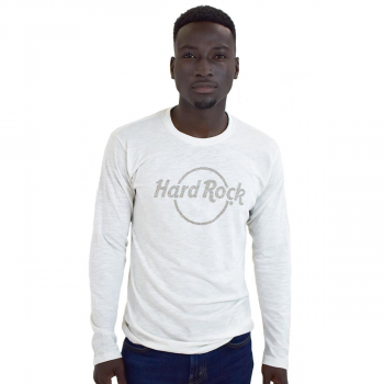 Men's White Dotted Logo Long Sleeve Tee