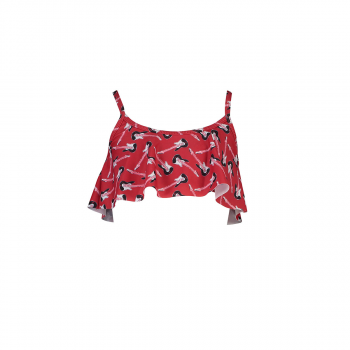 Girl's Red Guitar Flounce Bikini Top