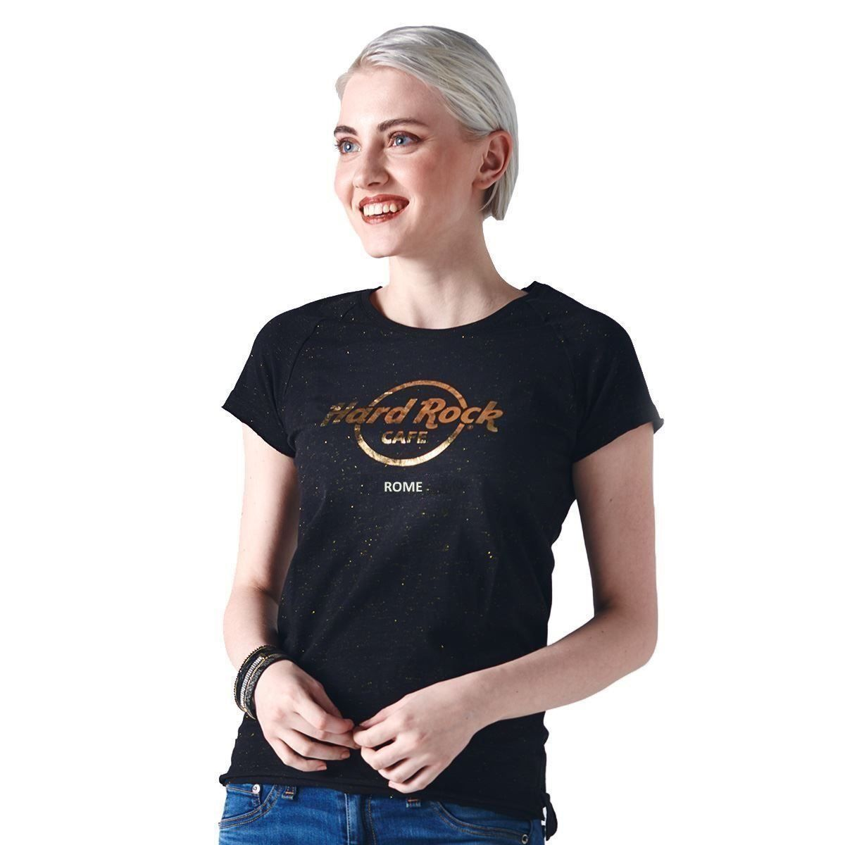 Women's Gold Metallic Logo Tee