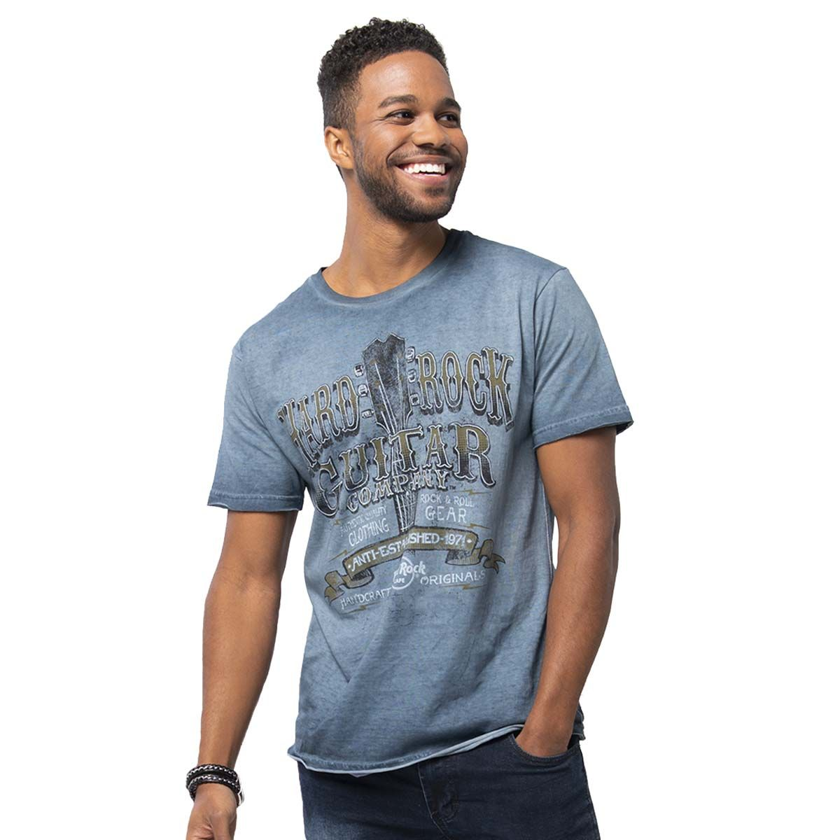 Men's Pigment Wash Graphic Tee Blue