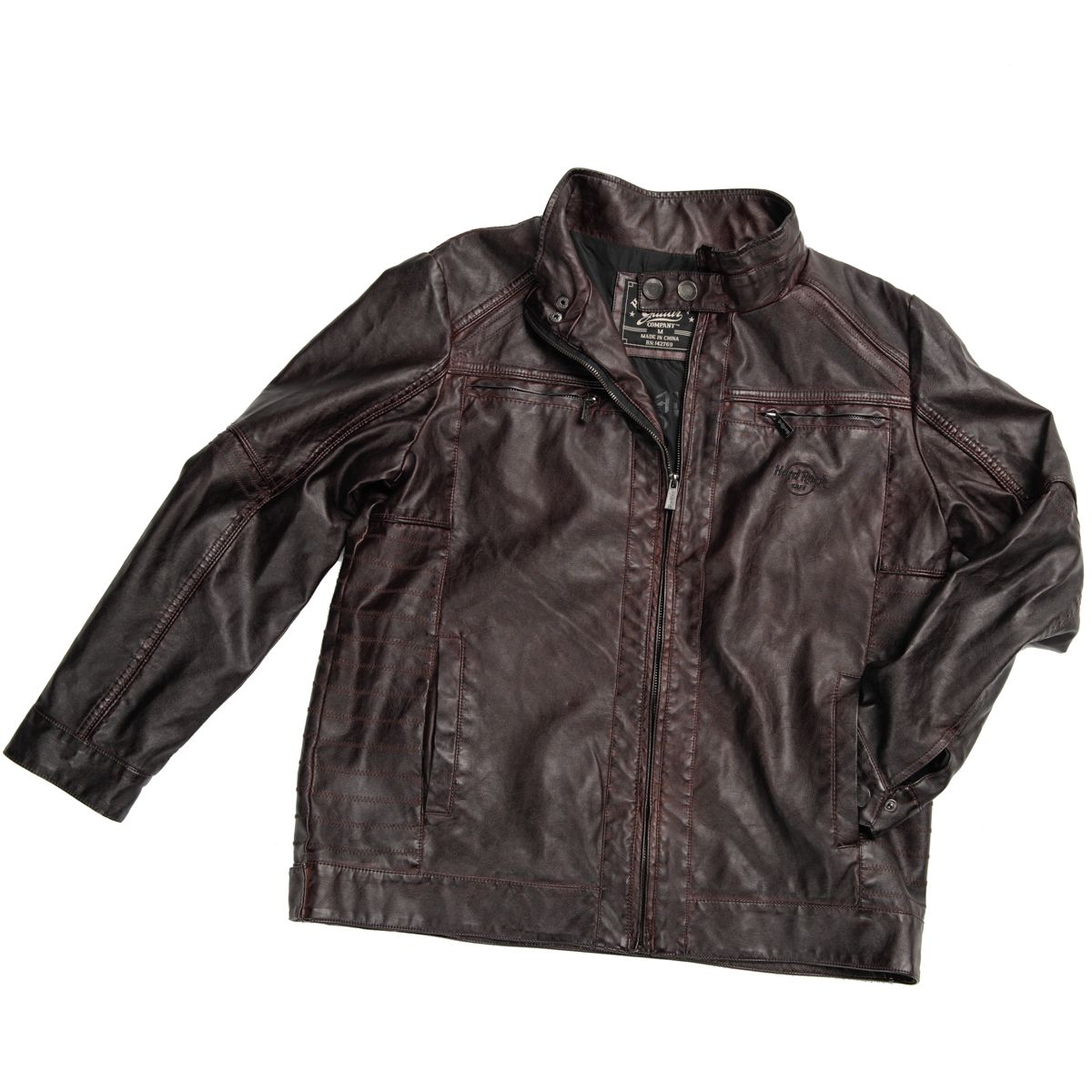 Men's Washed Faux Leather Jacket