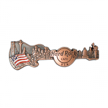 USA 3D Skyline Guitar Country Pin