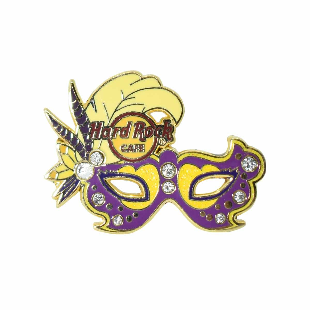 Rhinestone Carnival Mask Pin Purple