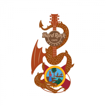 3D Dragon and Flag Guitar Pin