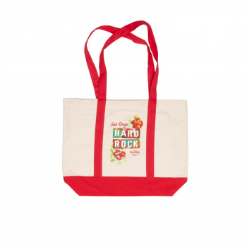 Tropical Flower Tote Bag Natural Red