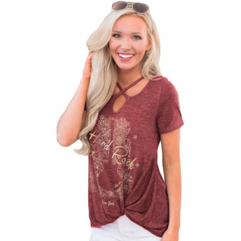 Women's Floral Guitar Foil Knot Side Tee