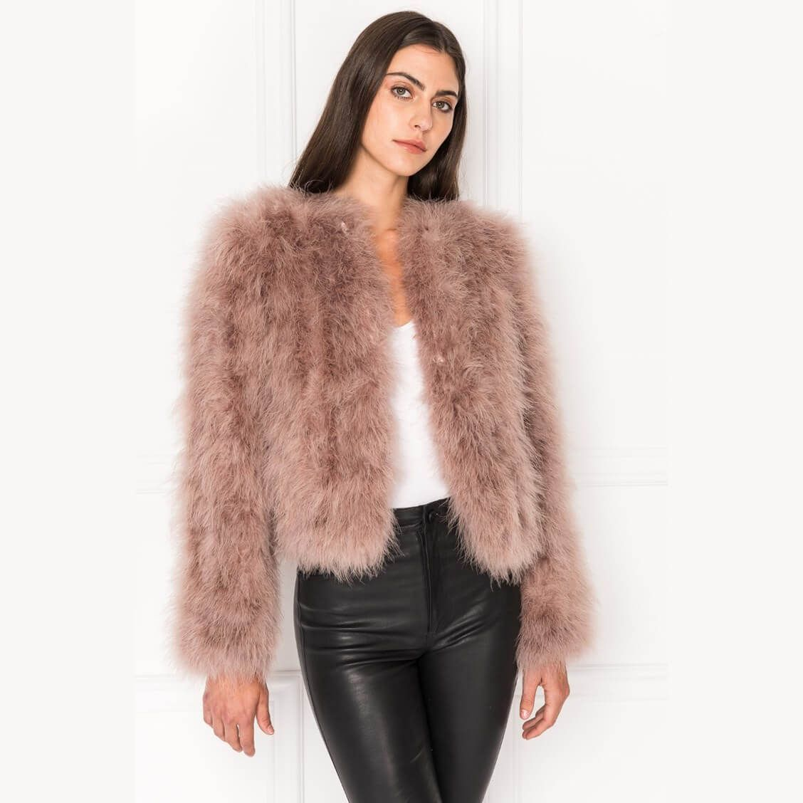 Women's LAMARQUE Feather Jacket in Dusty Rose