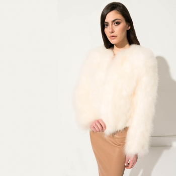 Women's LAMARQUE Feather Jacket in Ivory