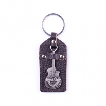City Metal Guitar Faux Leather Keychain