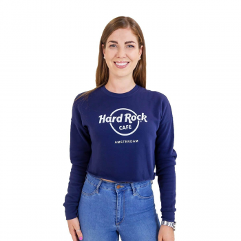 Women's Navy Logo Crop Pullover