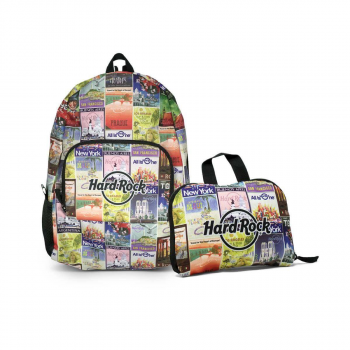 Ultralight Portable Packable Vintage Poster Print Backpack