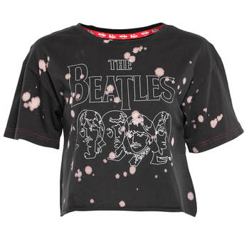Women's The Beatles Acid Wash Line Art Crop Tee