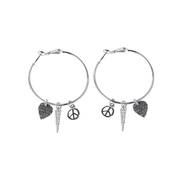 Spike Peace Hoop Earrings