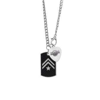 Chevron Stripe Dog Tag and Guitar Pick Chain