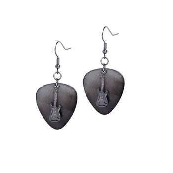 Hematite Guitar Pick Earrings