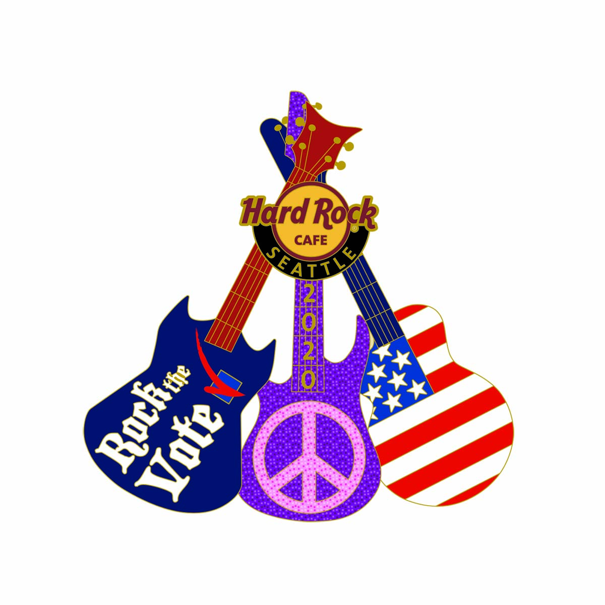 Seattle Election Peace Guitar Pin