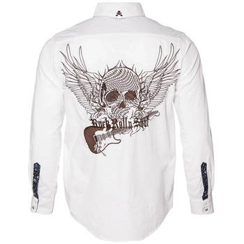 Men's Rock Roll 'n Soul Flying Skull and Guitar Shirt White