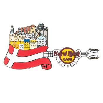 Flag Over Country Pin Denmark