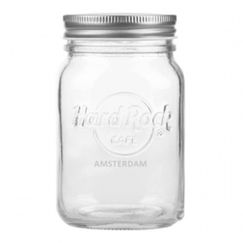 Logo Mason Jar with Straw Hole Lid