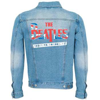 Unisex The Beatles Union Jack Logo Denim Jacket