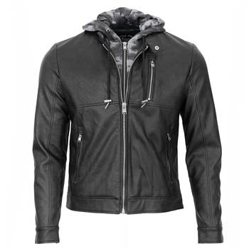 Men's Removable Hood Faux Leather Jacket