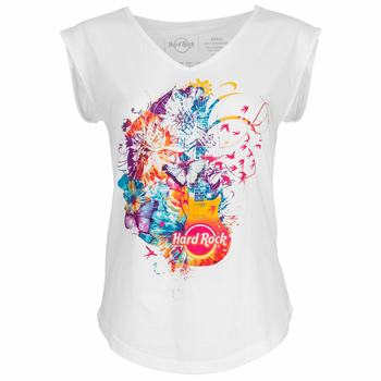Women's Flower Guitar V-Neck Tank
