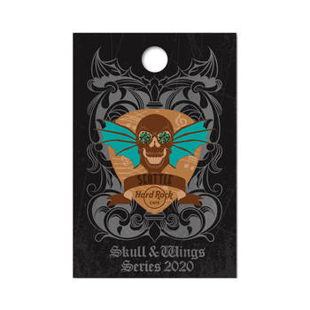 3D Skull with Wings Series Pin
