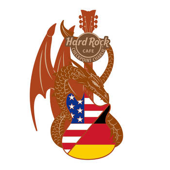 3D Dragon and Flag Guitar Pin Checkpoint Charlie