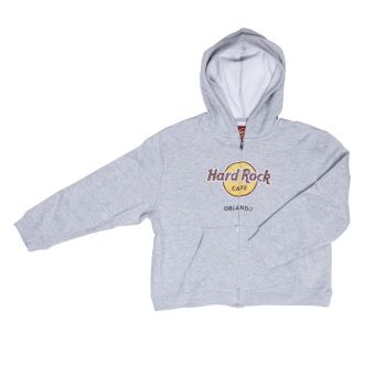 Kid's Zip-up Distressed Logo Hoodie