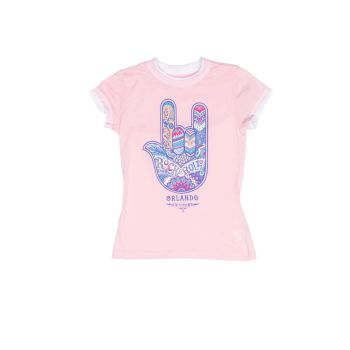 Girls Henna Hand Raw Edge Tee Pink