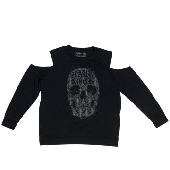 Lds Skull Cold Shoulder LS Tee Black