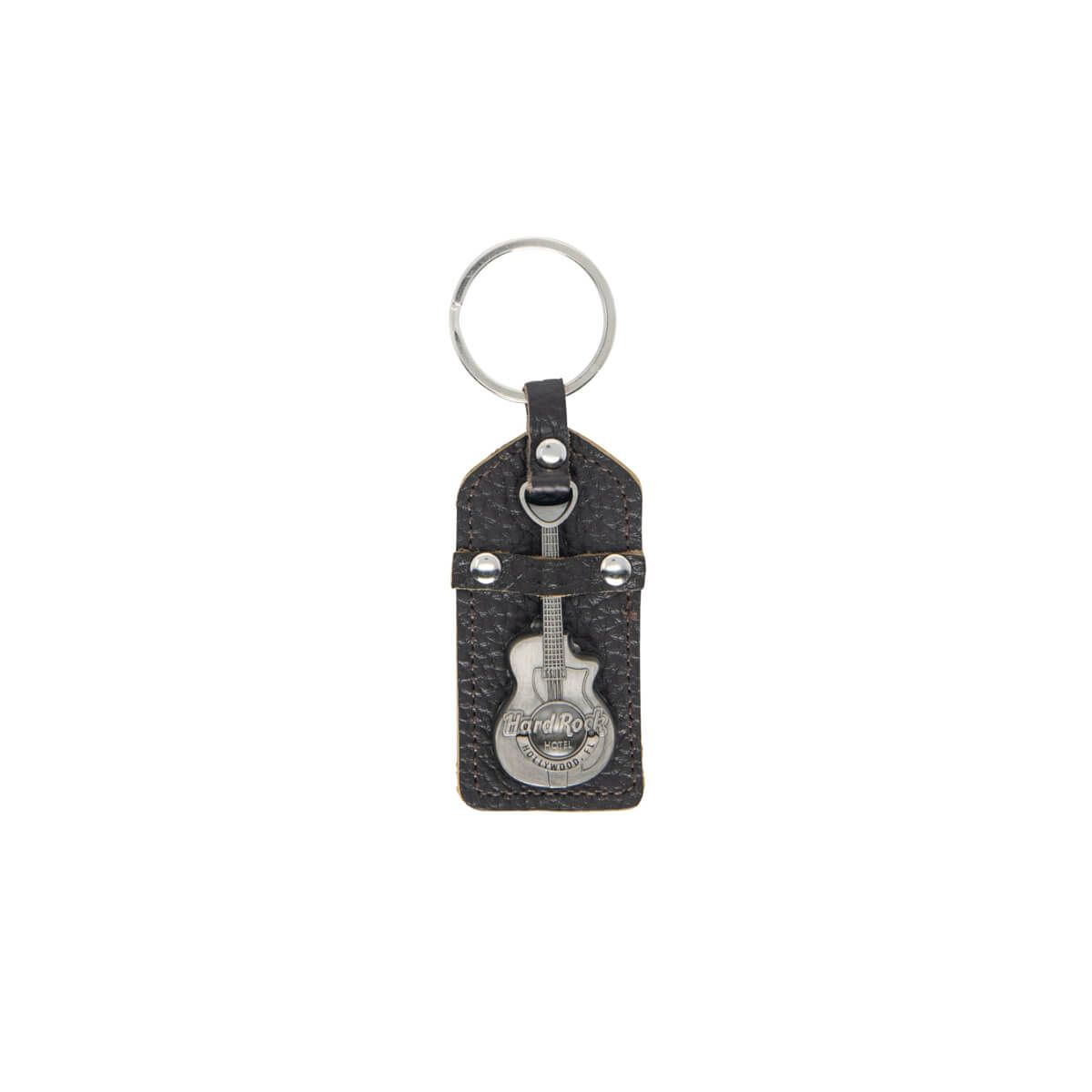 Hotel Metal Guitar Leather Keychain